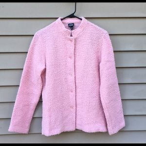 Eileen Fisher pink blazer jacket boucle sz M